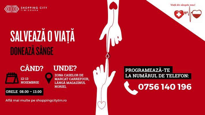 Campanie pentru donare de sânge, timp de două zile, în mall