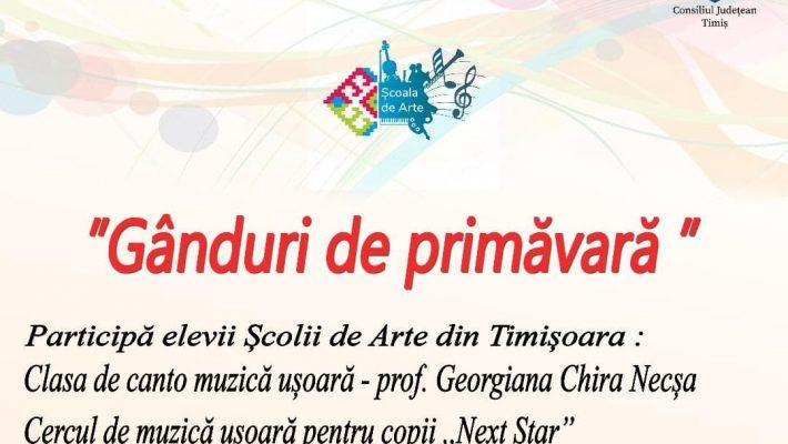 """La Școala de Artă a CJ Timiș, martie începe cu """"Gânduri de primăvară"""""""