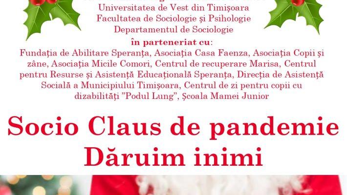 """UVT: """"Socio Claus de pandemie – Dăruim inimi"""""""